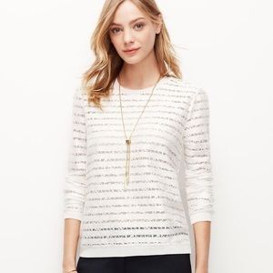 Ann Taylor Cream Sheer Lace Striped Top Sz M EUC